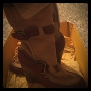 Womens Fendi suede & leather knee boots